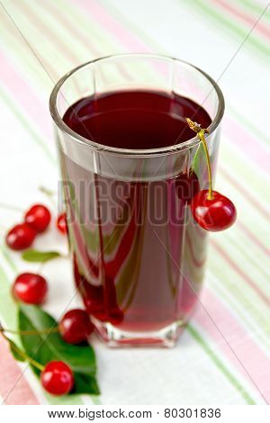 Compote cherry in glassful on tablecloth