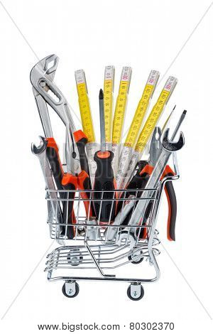 hand tool in a shopping cart, photo icon for crafts, tools and material procurement