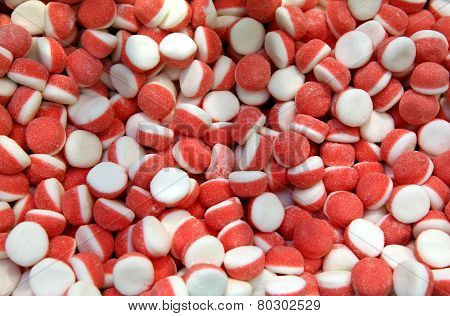 Many bright color jelly candies