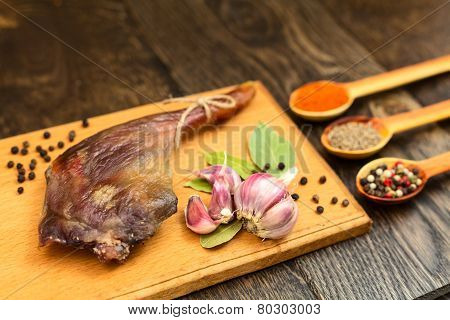 Dried Duck Thigh On The Board