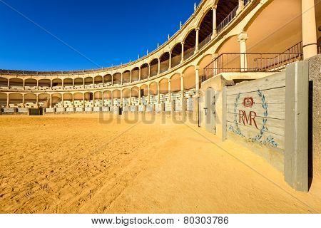 RONDA, SPAIN - OCTOBER 5, 2014: Plaza de Toros de Ronda Bullring. The arena was completed in 1785.