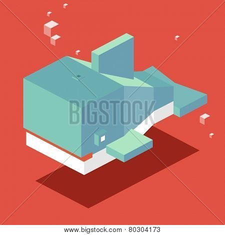 swimming whale. 3d pixelate isometric vector
