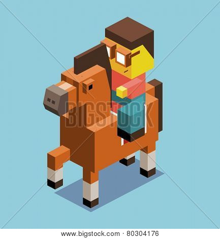 riding horse. 3d pixelate isometric vector