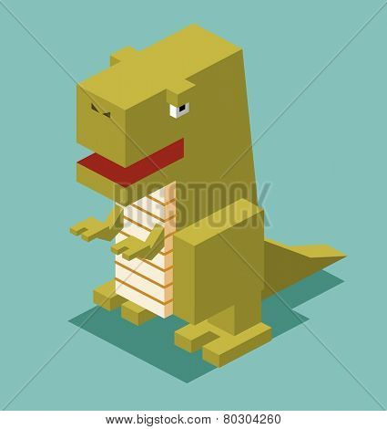 t-rex. 3d pixelate isometric vector