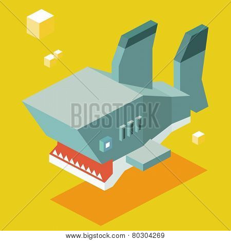 shark teeth. 3d pixelate isometric vector