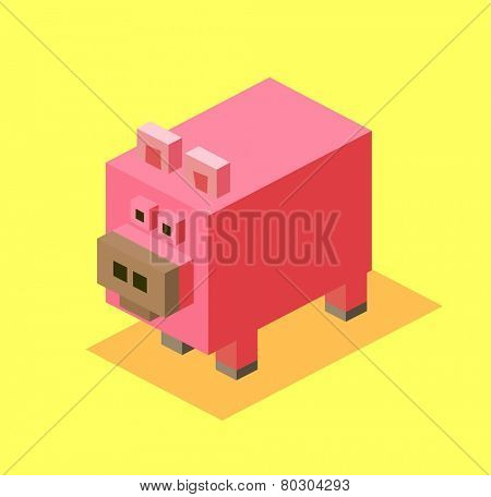 pig. 3d pixelate isometric vector