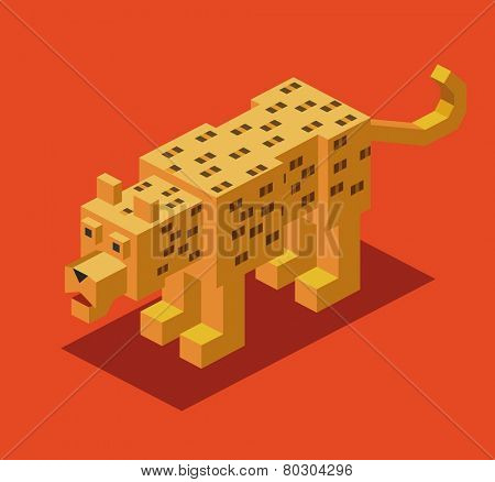 leopard. 3d pixelate isometric vector