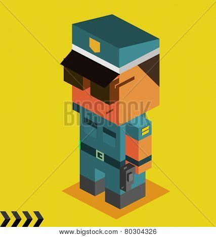 police officer. 3d pixelate isometric vector