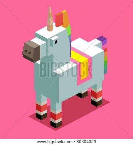unicorn. 3d pixelate isometric vector