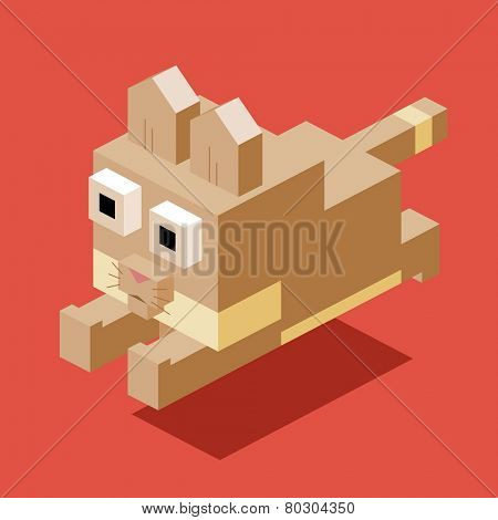 jumping cat. 3d pixelate isometric vector