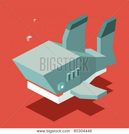 shark. 3d pixelate isometric vector