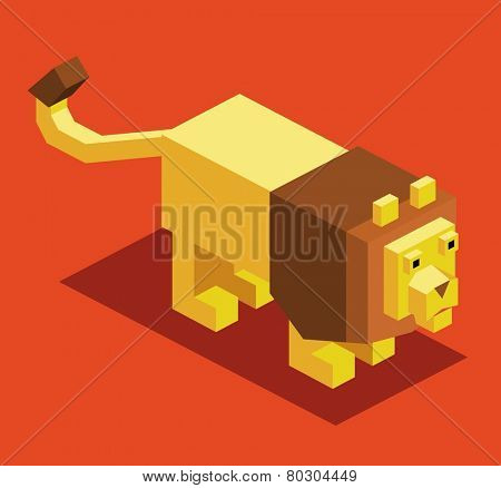 lion. 3d pixelate isometric vector