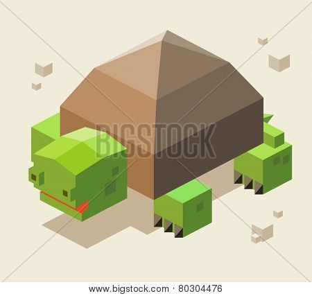 turtle. 3d pixelate isometric vector