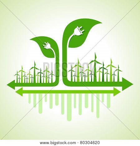 Ecology Concept - wind mill with leaf and electric plug