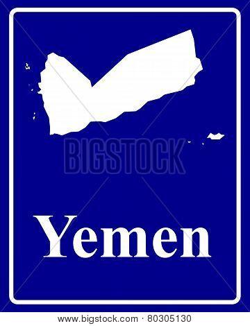 Silhouette Map Of Yemen