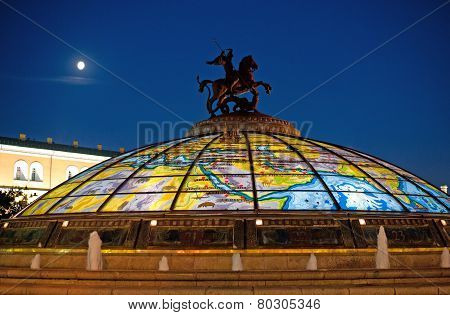 Manege Square In The Evening, Moscow, Russia.,st. George The Victorious Monument