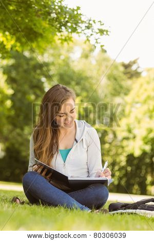 Smiling university student sitting and writing on notepad in park at school
