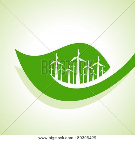 Ecology Concept - wind mill with leaf