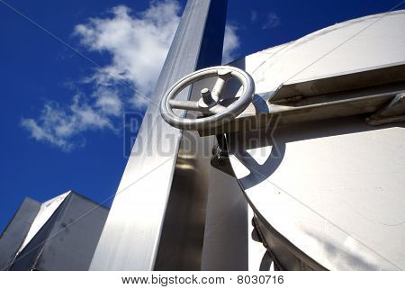 Industrial Zone, Steel Structures On Blue Sky