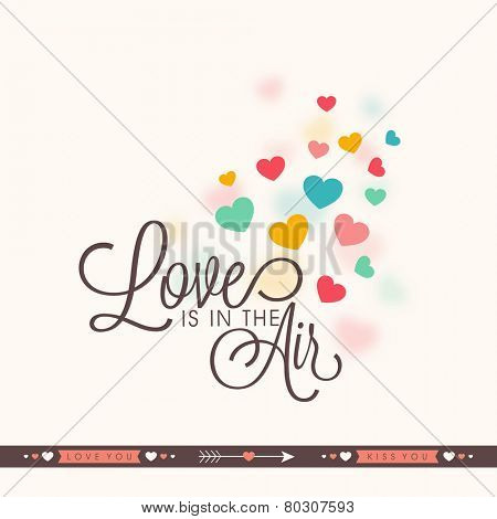 Elegant greeting card design with colorful hearts and text Love Is In Air for Valentines Day celebration.