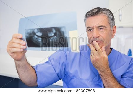 Thoughtful dentist studying x-ray attentively in dental clinic