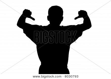 A silhouette of a sport fan with thumbs down