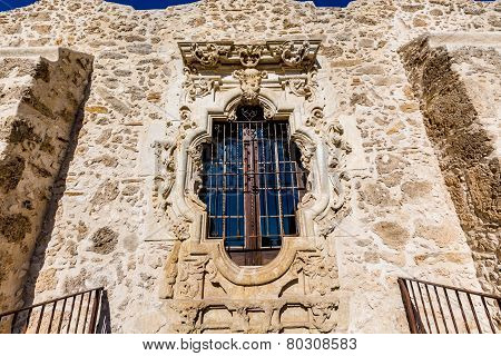 Rose Window of the Historic Old West Spanish Mission San Jose, Founded In 1720, San Antonio, TX