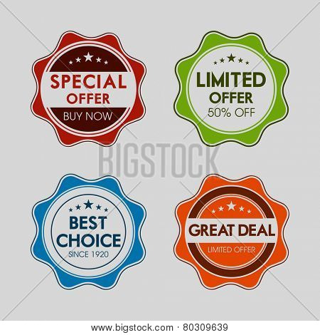 Set of four badges of special, limited , best choice and great deal offer on grey background.