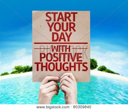 Start your Dat with Positive Thoughts card with a beach on background