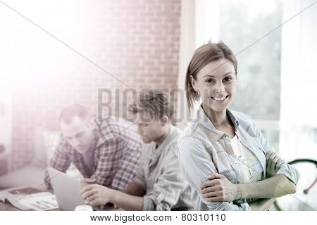 Portrait of student girl at home with roommates