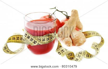 Dietary tomato cocktail with ginger root and centimeter isolated on white