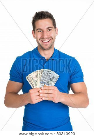 Man Holding Fanned Us Paper Currency