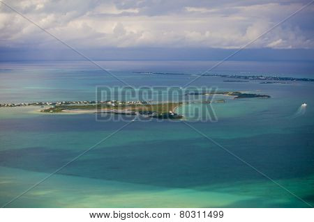 aerial view of the Abacos Islands, Bahamas