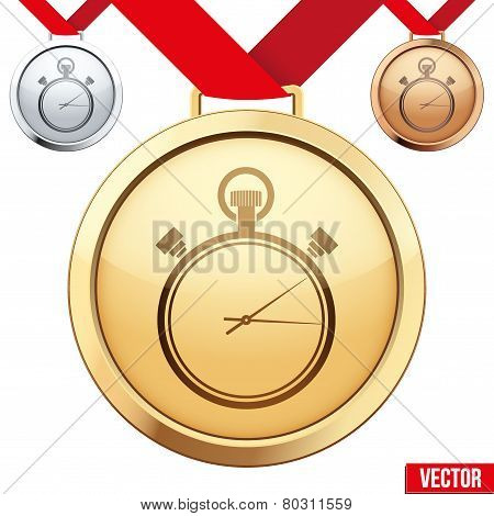 Gold Medal with the symbol of a stopwatch inside