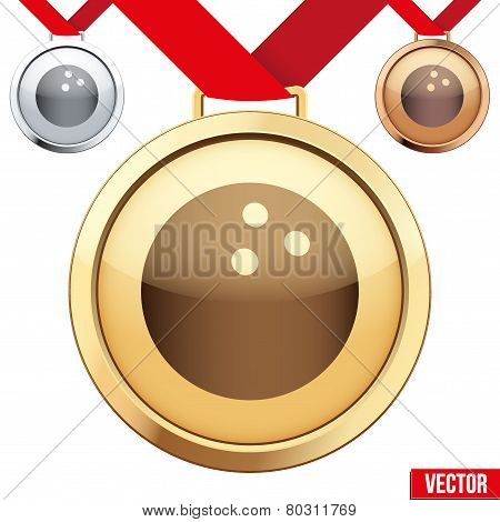 Gold Medal with the symbol of a bowling inside