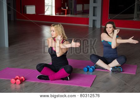Two Female Friends Do Fitness Exercises