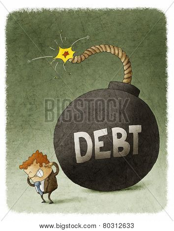 businessman with huge debt bomb