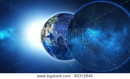 Planet Earth with sun in universe or space. Earth and galaxy in a nebula cloud