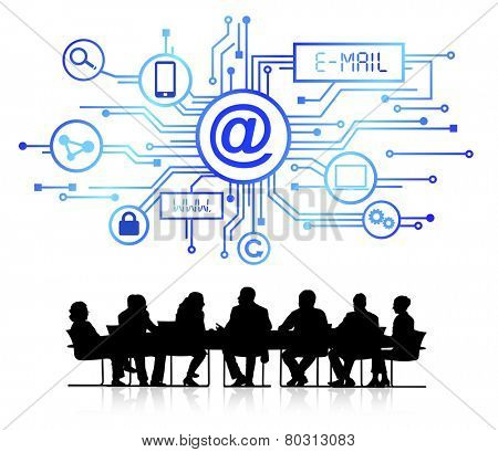 Silhouettes of Business in Conference and Email Concept