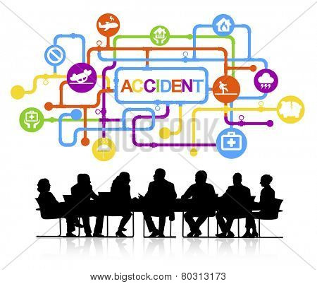 Group of Business People Meeting  with Accident Concept