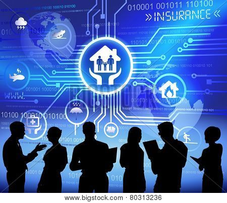 Vector of insurance themed background with silhouettes of business people.