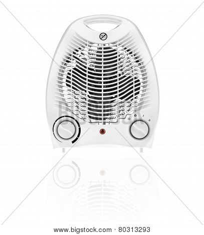 White Fan Heater Isolated On White Background.