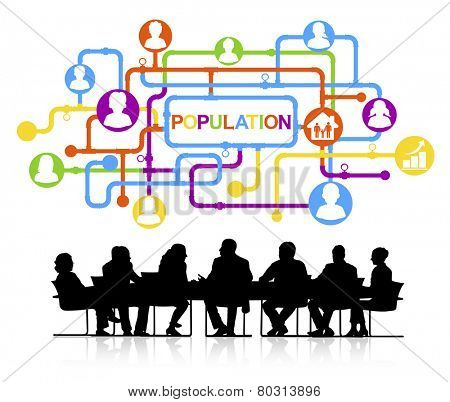 Silhouettes of Business People and Population Concept