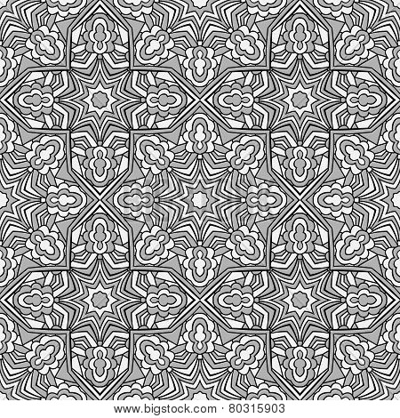 Classic Arabic Black And Grey And White Seamless Pattern