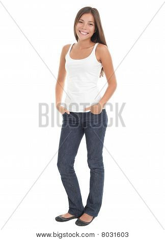 Casual Woman Full Length On White Background