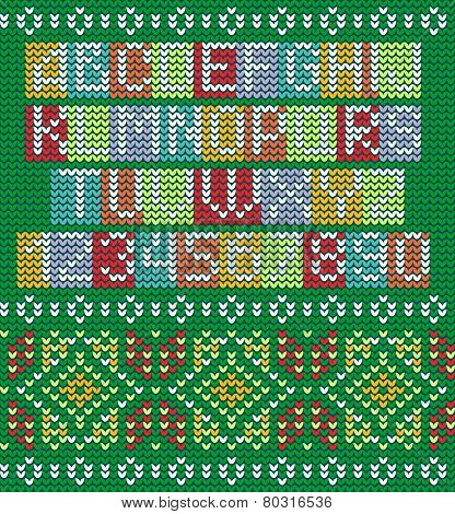 Colorful Alphabet And Knitted Seamless Ornament