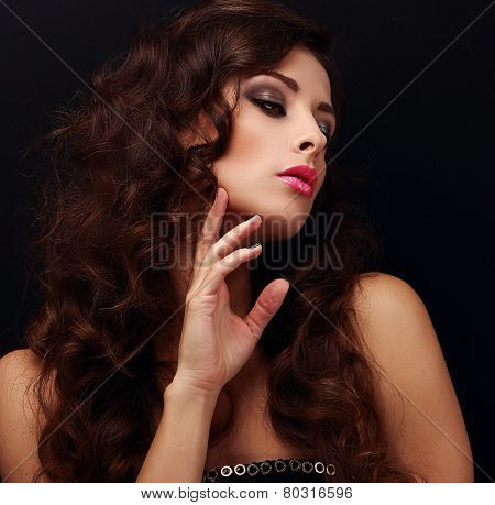Elegant Curly Hair Woman Looking. Bright Model With Smokey Eyes Makeup