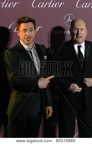 PALM SPRINGS, CA - JAN 3: Robert Downey Jr. and Robert Duvall arrive at the 2015 Palm Springs Film Festival Awards Gala at the Palm Springs Convention Center on January 3, 2015 in Palm Springs, CA.