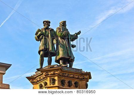 Statue Of Johannes Gutenberg  In Frankfurt