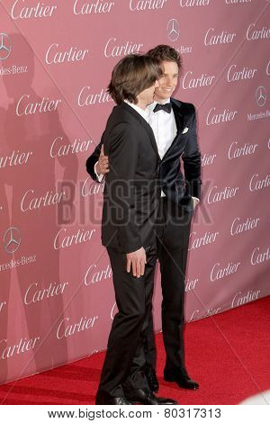 PALM SPRINGS, CA - JAN 3: James Marsh and Eddie Redmayne arrive at the 2015 Palm Springs International Film Festival Gala at the Palm Springs Convention Center on January 3, 2015 in Palm Springs, CA.